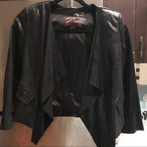Embossed leather XS drape Jacket. New, never worn